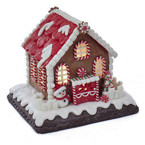 image is loading christmas decorations lighted peppermint gingerbread house with snowman