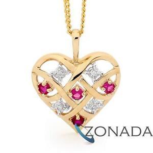 Heart-Ruby-amp-Diamond-9ct-9k-Solid-Yellow-Gold-Pendant-64747-CR