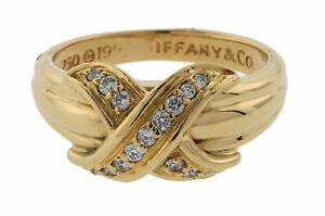 cc6fcca8a2ecc Details about Tiffany & Co Diamond Signature X Ring 18k Yellow Gold Size  5.75