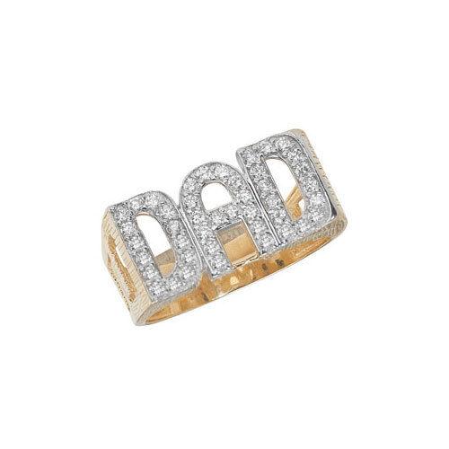 9ct gold Hallmarked Large Stone set ' DAD ' Ring