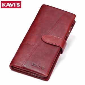 KAVIS-Genuine-Leather-Women-Wallet-Female-Long-Clutch-Lady-Walet-Portomonee-Rfid