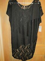 NEW✿ Free People LADIES XS S/S TUNIC SHIRT TOP LACE BACK $88 RV Black