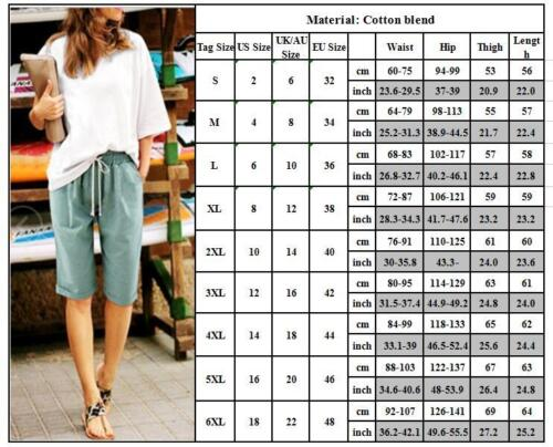 Womens Half Linen Trousers Ladies Rib Back Cropped Pants Shorts Plus Size Casual