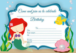 10 x children birthday party invitations thank you cards ariel image is loading 10 x children birthday party invitations thank you filmwisefo