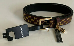 NEW-BEBE-SIGNATURE-LOGO-BROWN-LEATHER-BELT-SMALL-S-SALE