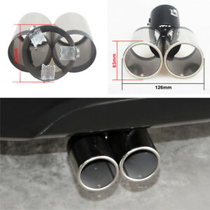 Car-Rear-Exhaust-Throat-Muffler-Stainless-Steel-Double-Tube-Tail-Pipe-Trim-Tip