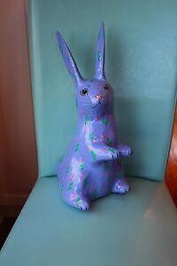 "Vintage Papier Mache Easter Bunny Figure - Blue - 14"" Tall"