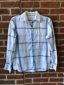 Barbour Women's Shirt Top White Blue Tan Flannel Button Down Blouse US Sz.6