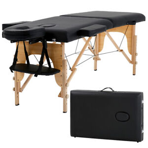 "New Massage Table Spa Bed 73"" Long Portable 2 Folding W/ Carry Case Black"