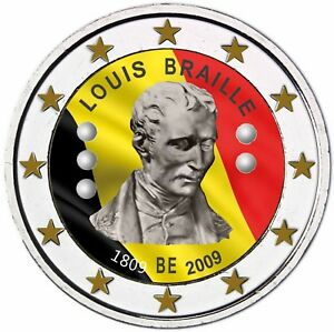 Belgien-2-Euro-2009-Blindenschrift-Louis-Braille-Gedenkmuenze-in-Farbe