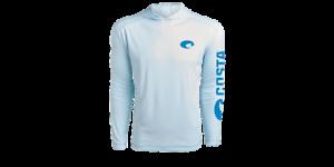 COSTA HOODED TECHNICAL SHIRT ARCTIC BLUE LONG SLEEVE UPF 50 SALE 49,99 GBP