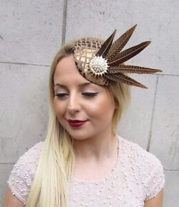Image is loading Brown-Gold-White-Pheasant-Feather-Pillbox-Hat-Fascinator- 475a2338b54
