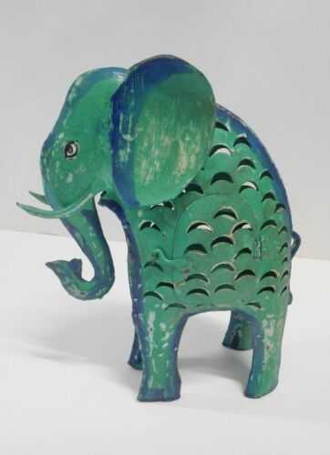 Elefant Laterne Windlicht Exner Metall  Shabby H 42 cm 206616 grün