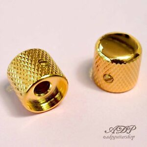 2x-Boutons-Metal-Tele-Dome-Knobs-19x19mm-SolidShaft-Pots-6-35mm1-4-034-BigGrip-Gold
