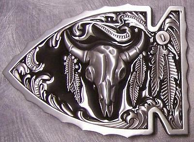 Pewter Belt Buckle animal Longhorn Steer Skull Arrow NEW