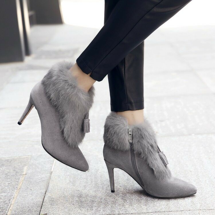 Fashion Women Ankle Boots Tassel Pointed Toe Fluff Booties Elegant Suede shoes