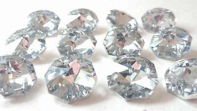 50pc Silver Chandelier Crystal Octagons 14mm Mirrored Faceted Prisms Parts Beads