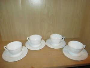 Indiana Colony Harvest Grape White Milk Glass Set of 4 Cups & Saucers
