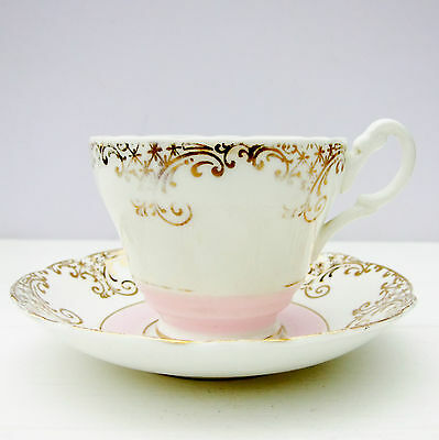 Vintage Regency Bone China Tea Cup Saucer Pink Gold
