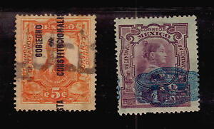 MEXICO TWO STAMPS WITH OVERPRINTS ERRORS VARIETIES DISPLACEMENTS VERY OLD