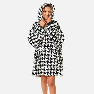 Dreamscene Houndstooth Oversized Hoodie Blanket Wearable Sherpa Fleece Black NEW
