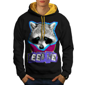 Lovely Casual Jumper Wellcoda Cute Racoon Face Mens Contrast Hoodie