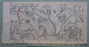 1863 Crimea Guerra Mapa / Batalla Plan Flanco Marzo Prince Mentshikoffs Campo