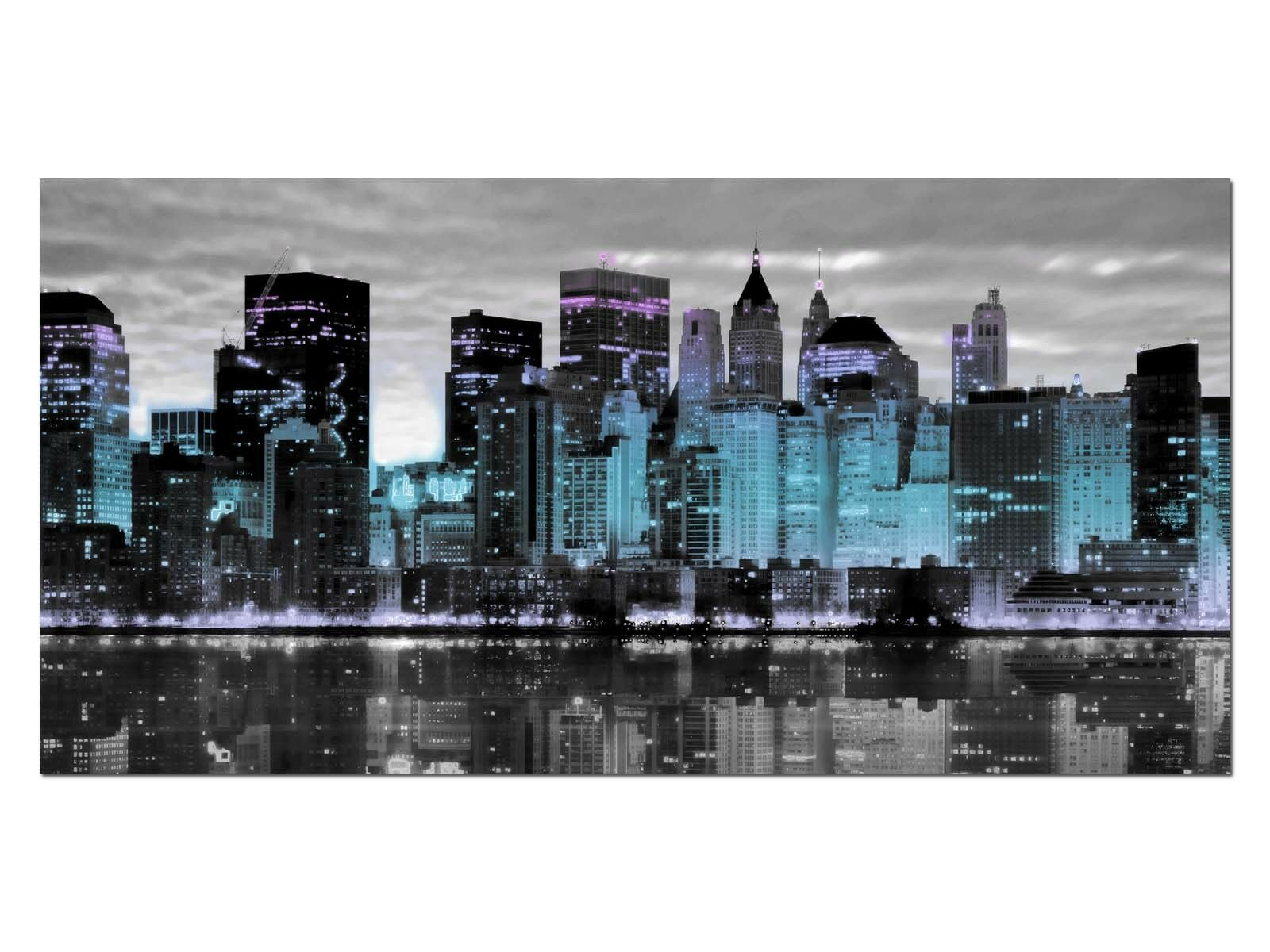 HD Glasbild EG4100500900 NEW YORK SKYLINE BLAU 100 x 50 cm Wandbild STADT