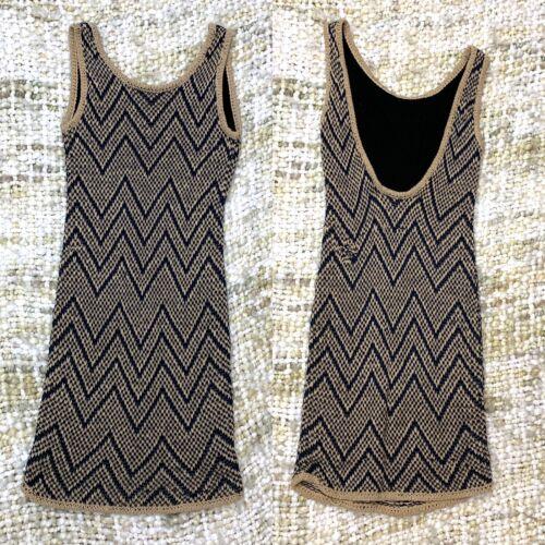 Rag Bone Knit Sleeveless Tank Dress Tan and Blue … - image 1