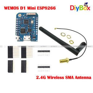 WEMOS D1 ESP8266 WIFI Mini Pro 16M Connector IoT Board 2.4G SMA External Antenna