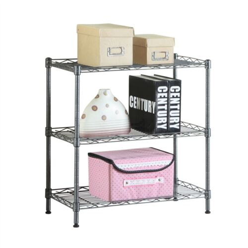 New Concise 3 Layers Carbon Steel /& PP Storage Rack Black