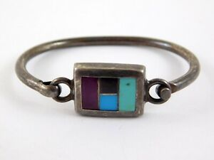 Vintage-Mexico-925-Sterling-Silver-Bracelet-Multiple-Inset-Stones-Turquoise-Onyx