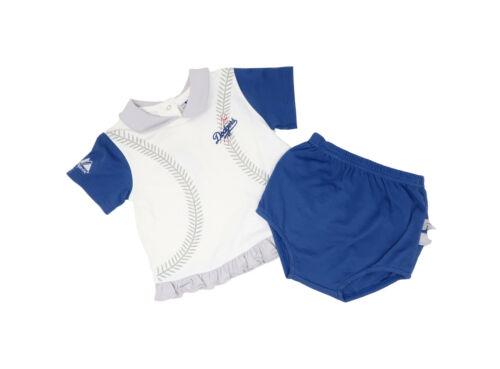 Majestic Toddlers Infants Girls Shirt Shorts Set White Blue Los Angeles Dodgers