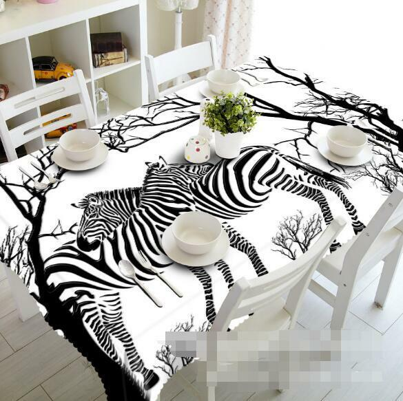 3D Zebras Trees 7 Tablecloth Table Cover Cloth Birthday Party Event AJ WALLPAPER