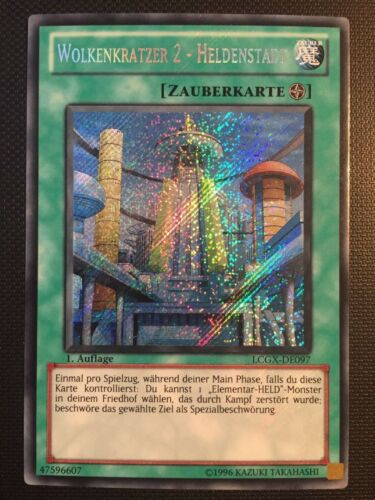 Secret Rare YUGIOH! Wolkenkratzer 2 Heldenstadt LCGX-DE097 Near Mint!