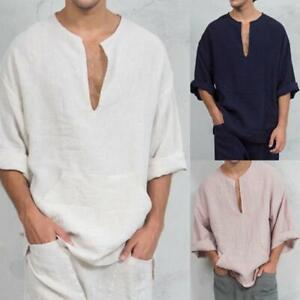 Mens-Long-Sleeve-Linen-Shirt-Loose-Summer-Casual-V-Neck-T-Shirts-Tee-Tops-Blouse