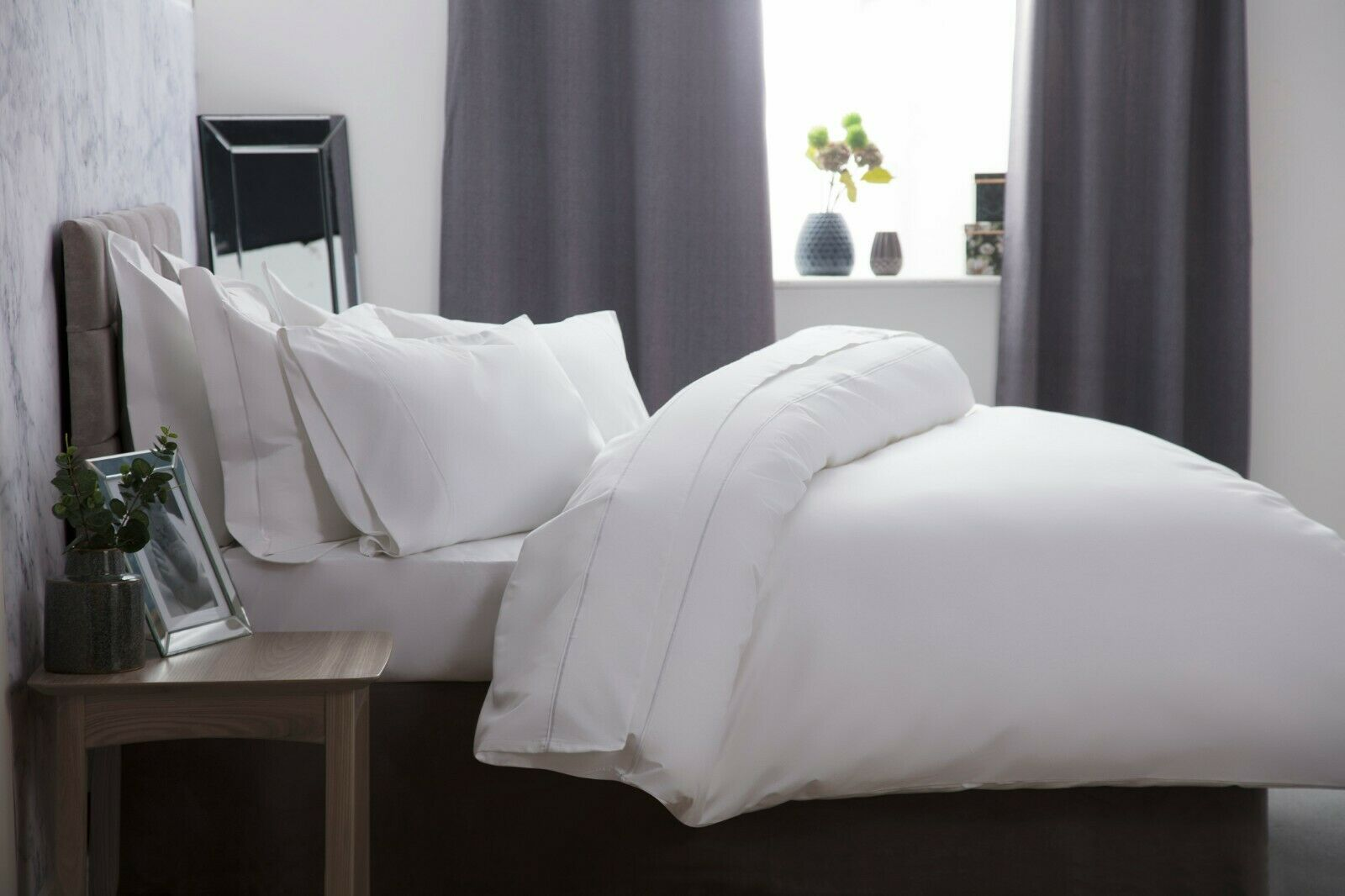 1000 Thread Count Single Ply Egyptian Cotton Fitted Sheets Weiß, Ivory or grau