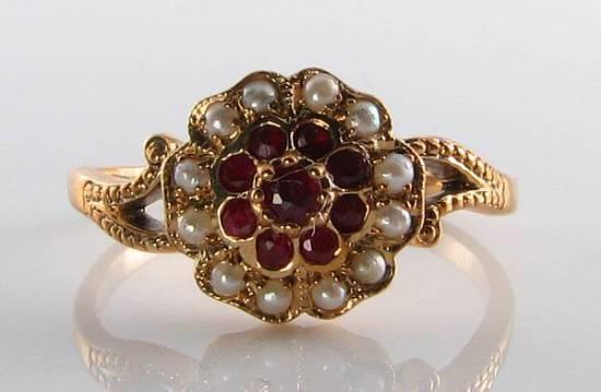 Divine 9K 9CT oro oro oro Indiano cluster di PERLE RUBINO VINTAGE INS Anello libero Ridimensiona 023004