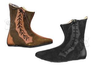 cd3883b9c766e Das Bild wird geladen Mittelalter-Schuhe-Stiefel-Echt-Leder -Rauhleder-braun-oder-