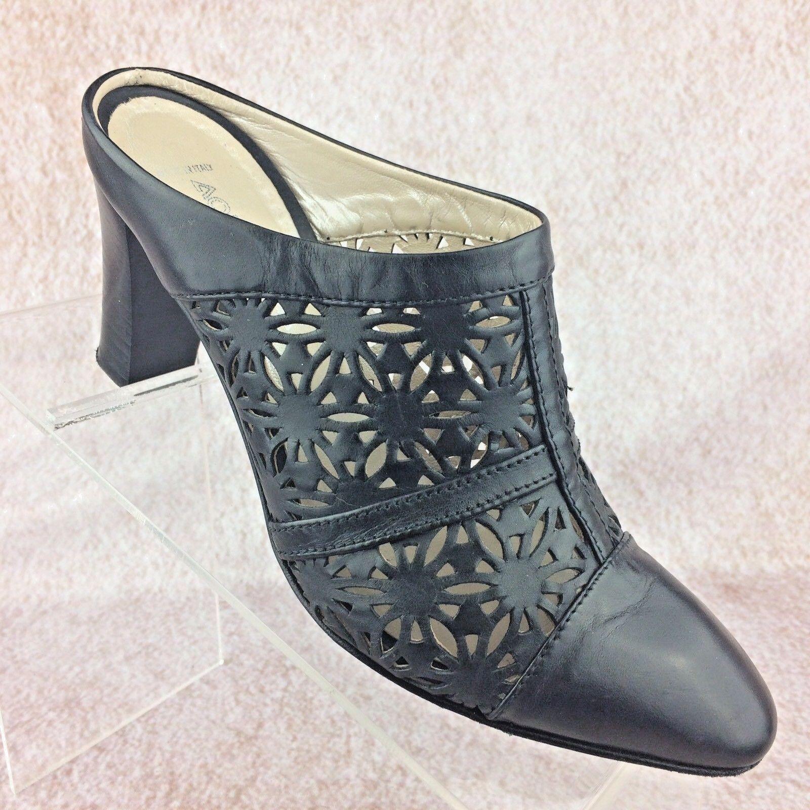 Aquatalia Laser Cut Out Mules Clogs shoes Heels Black Leather - Italian - Sz 6
