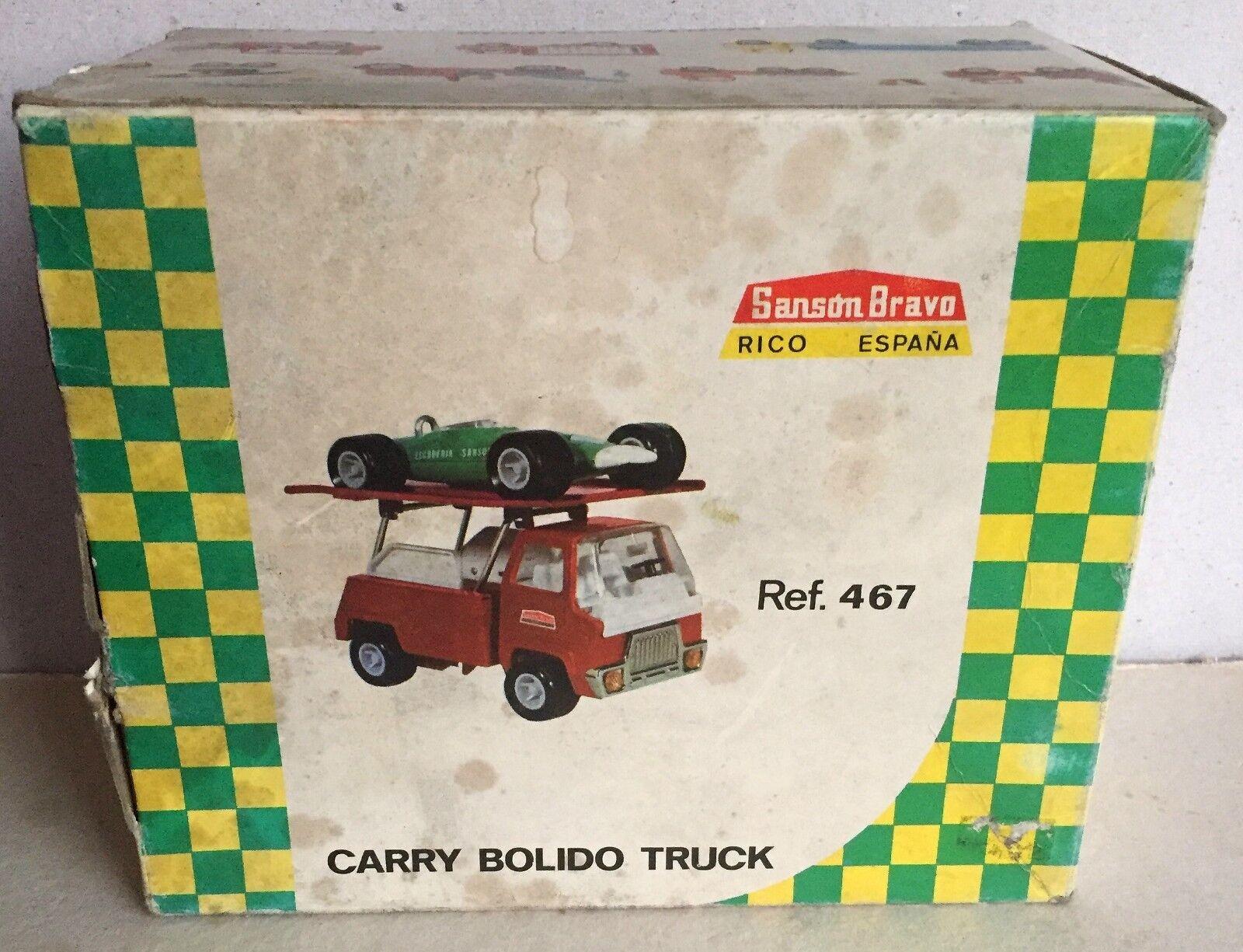 Rico ref n° 467 Camion Sanson Bravo porte auto ( avec Auto Bolide) en tôle