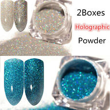 2Boxes Holographic Holo Laser Glitter Powder Dust Nail Art   Decoration Tips DIY