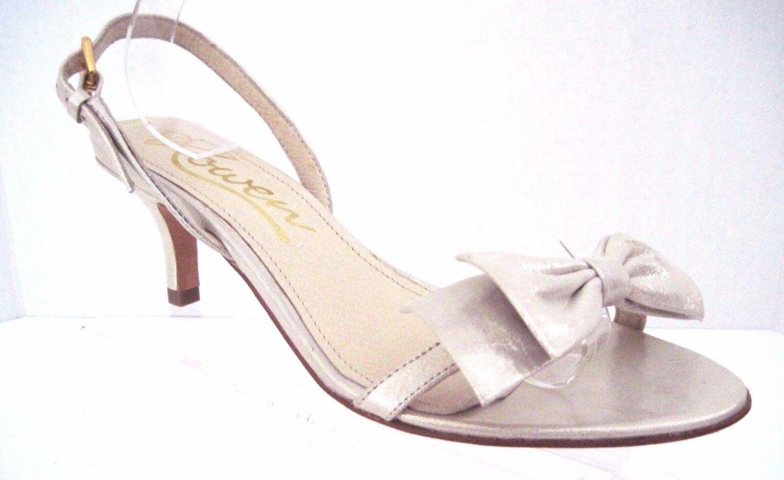 ROWEN Metallic Champagne Slingback Kitten Heels with Bow Size 8 M
