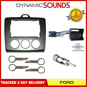 DFP-07-17-Double-Din-Fascia-Panel-Package-Kit-for-Ford-Focus-2006-gt-Silver-Grey