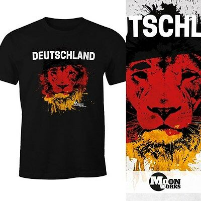 Herren Tanktop Deutschland Fanshirt EM WM Fußball Löwe Flagge Germany MoonWorks®