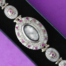 Reloj Pulsera Hermosa otomano Hecho a Mano RUBÍ Y TOPACIO 925 de plata y bronce En Caja