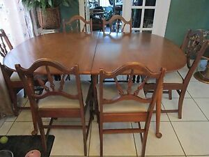 mid century old world dining room table and 6 chairs ebay