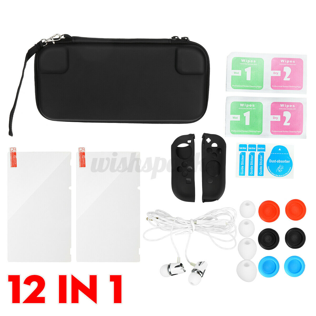 12Pcs Storage Bag Shell Cover Protective Film Carry Case Headset For Switc nb