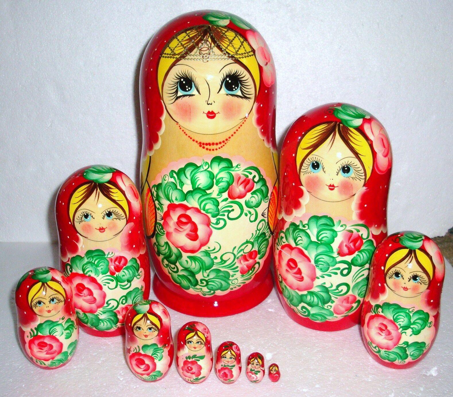 Beautiful Russian Nesting  bambola10pc10.5 GORGEOUSHUGEfatto IN RUSSIA  senza esitazione! acquista ora!
