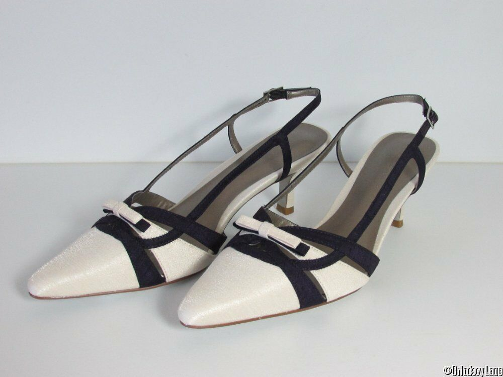 Jacques Vert Ivory ~ Bow Dark Purple ~ Strippy Bow ~ Trim Shoes & Matching Bag  NEW 6 c028f0